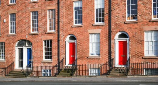 Image of a house with a red door