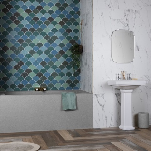 Bathroom ideas, spa style bathroom, bathroom transformation, mosaic bathroom tiles, patterned bathroom tiles